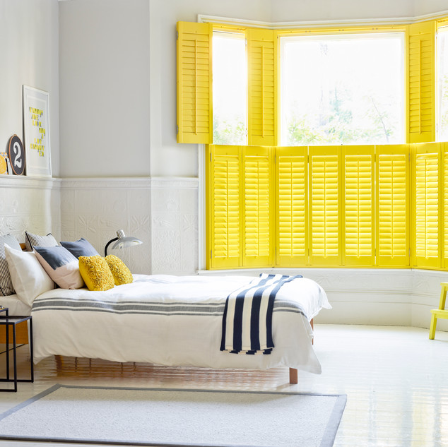 Top Set Open Bedroom Yellow Shutters - H
