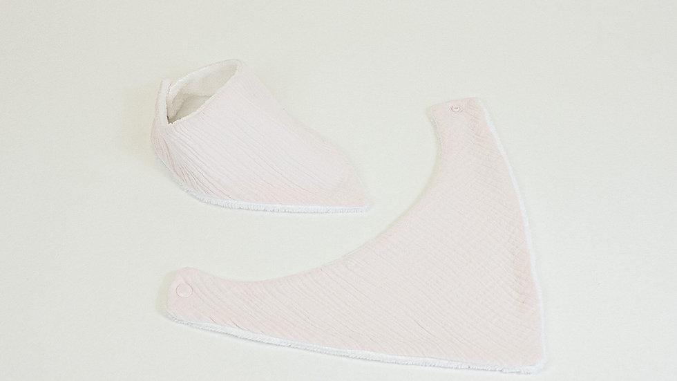 Bavoir/Bandana bananas gaze de coton rose dragée