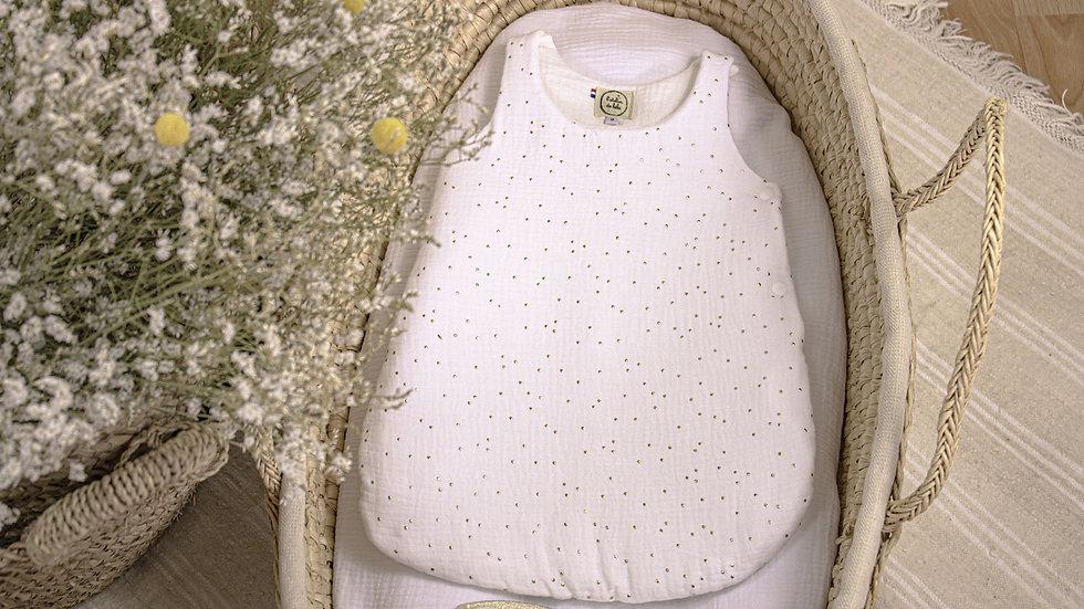 Gigoteuse blanc pois doré
