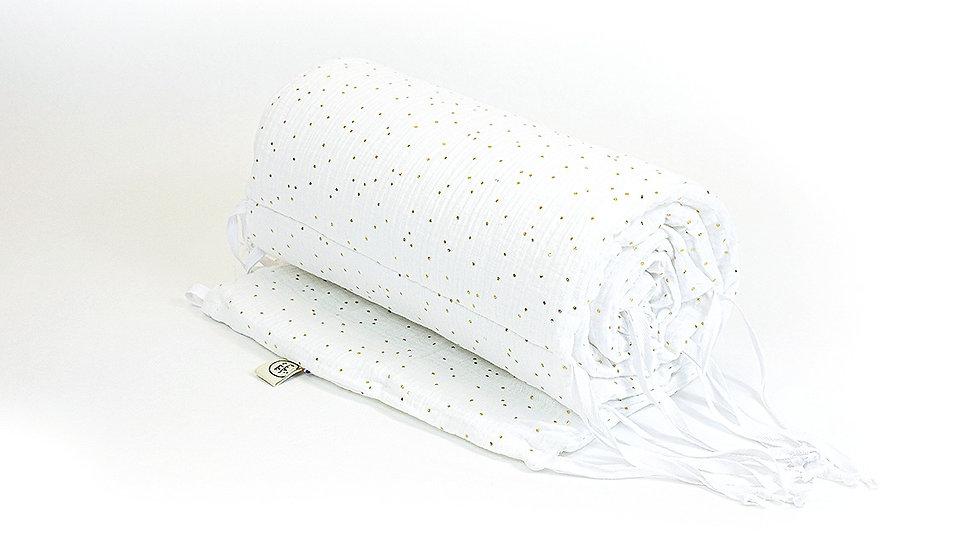 Tour de lit blanc pois doré en gaze de coton