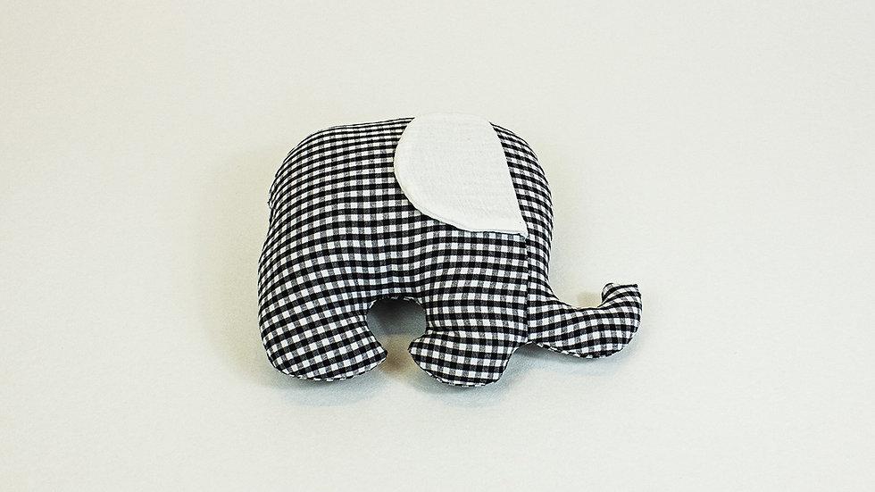 Petit éléphant câlin vichy noir