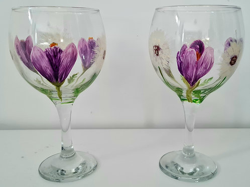 Pair of Crocus Wishes Hand- painted Gin glasses