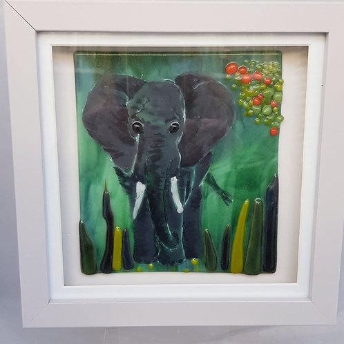 Elephant Framed Glass Art