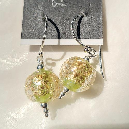 Dainty Sparkle Marble Glass Lampwork Earrings