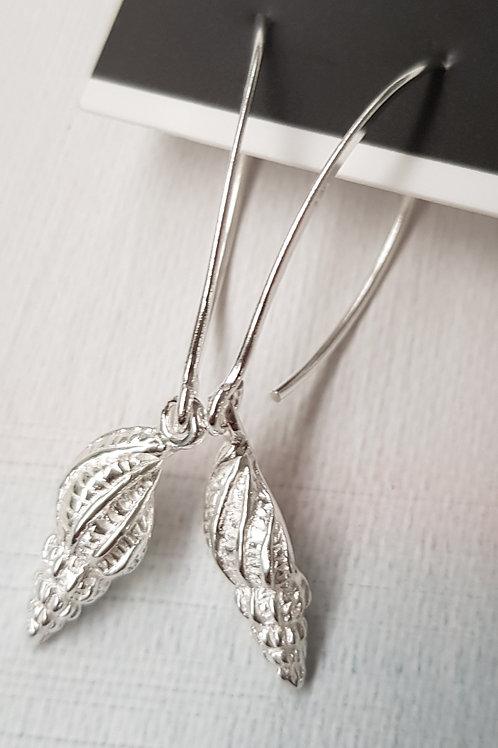 Silver Shell Earrings long
