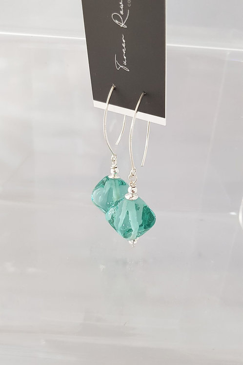 Aqua Lampwork Earrings