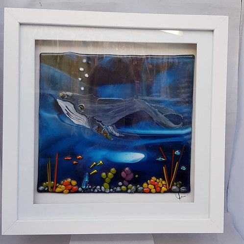 Whale Framed Glass Art