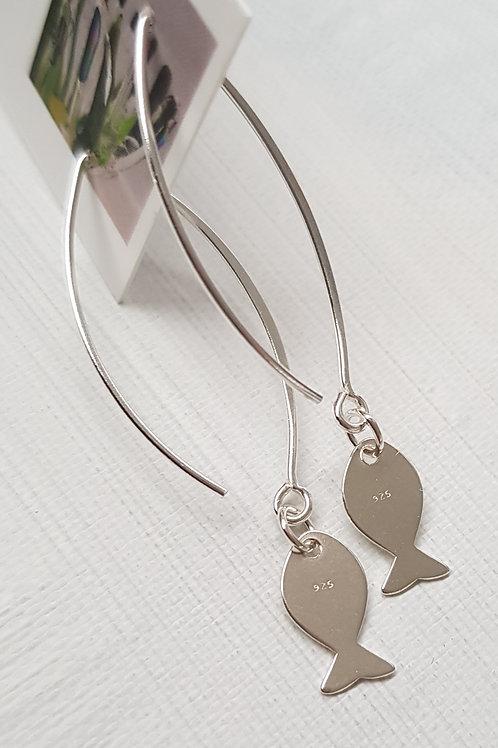 Silver Fish Earrings long