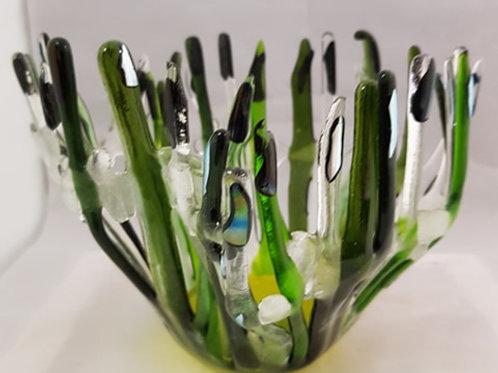 'Splash of Green' Glass Art Bowl