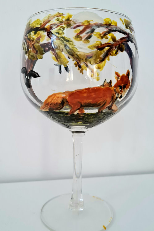 Fox & Owls Hand- painted  Gin glass
