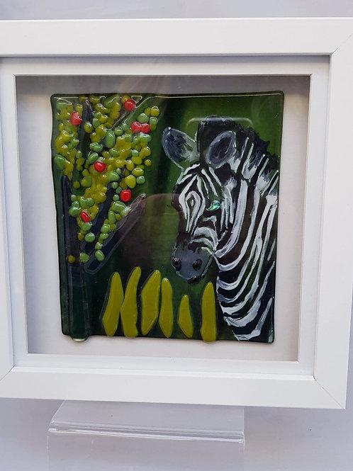 Zebra Framed Glass Art