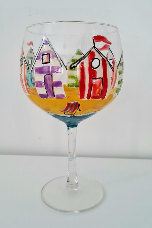 Hand- painted Beach Hut Gin glass