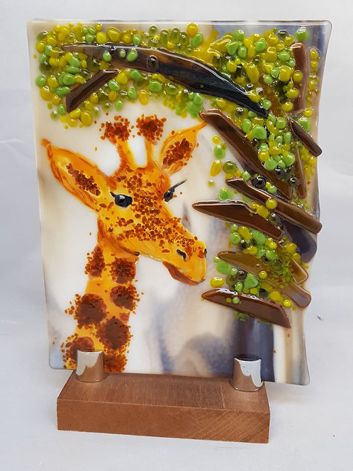 Giraffe Glass Art Panel with stand