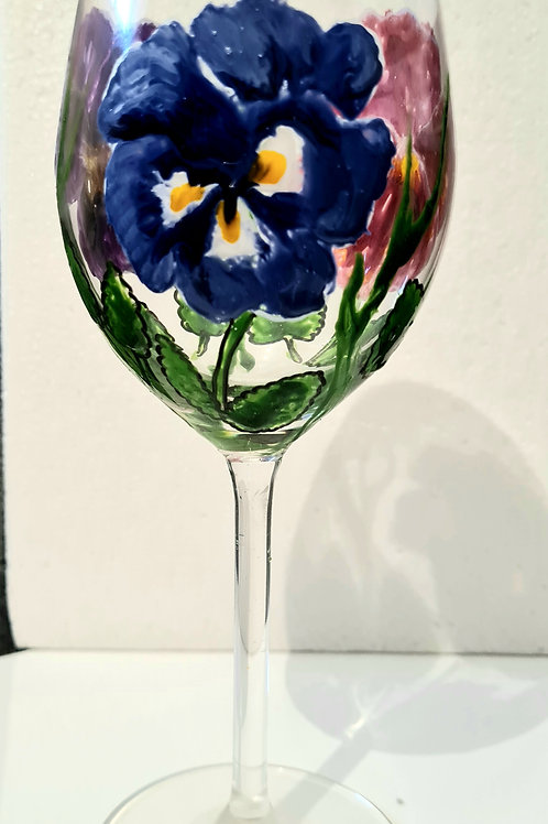 Pansies hand- painted wine glass