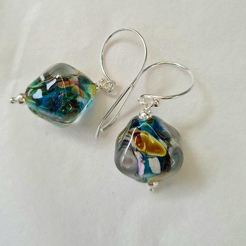 Crystal shape Glass Lampwork Earrings