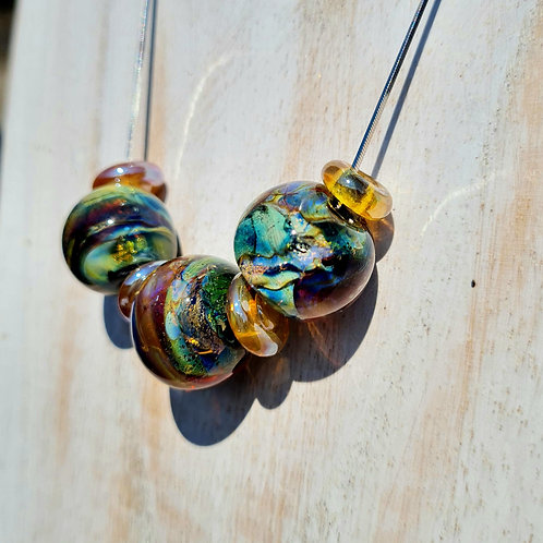 Flame- Worked 'Fire-Opal' Necklace