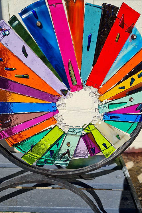 Colour burst II with wrought iron stand