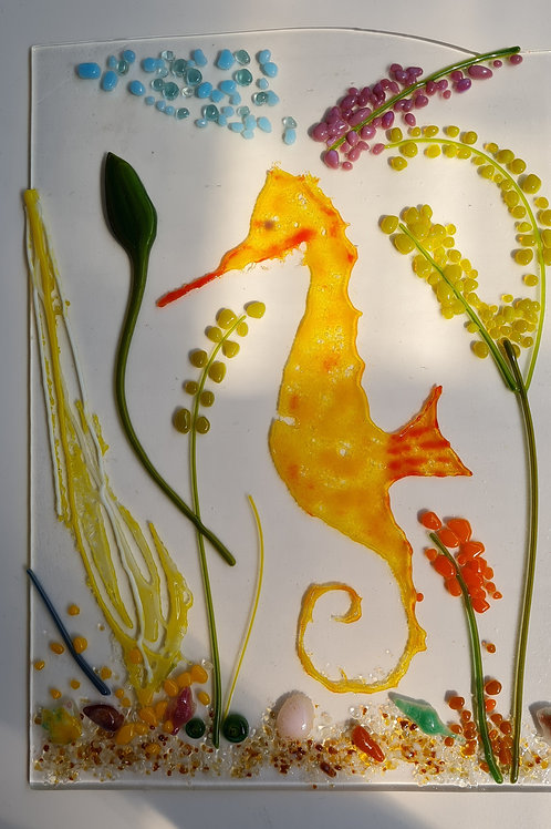 Seahorse Freestanding Panel with wooden base