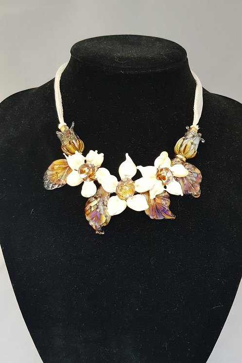 Lampwork Flower Necklace and Matching Earrings