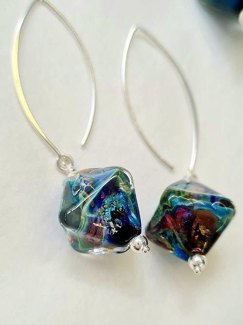 Crystal shape Fire-Opal earrings