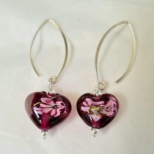 Flower Heart Drop  earrings