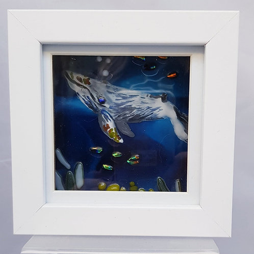 Small Whale Framed Glass Art