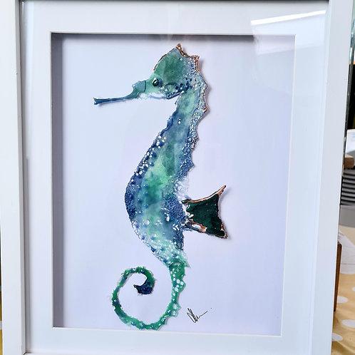 Delicate Seahorse Framed Glass Art
