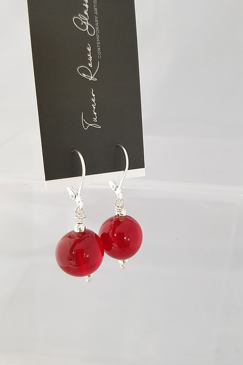 Red Glass Lampwork Earrings