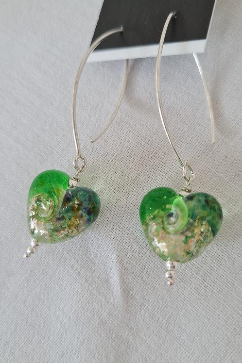 Gorgeous heart shaped Glass Lampwork Earrings