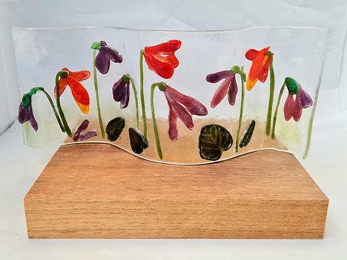Pate de verre flowers Tea Light holder