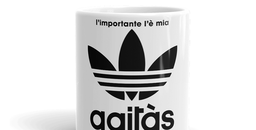 """Tazza bianca """"L'importante l'è mia agitàs"""""""