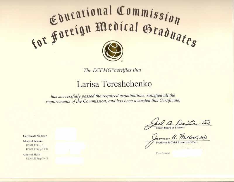 ECFMG certificate
