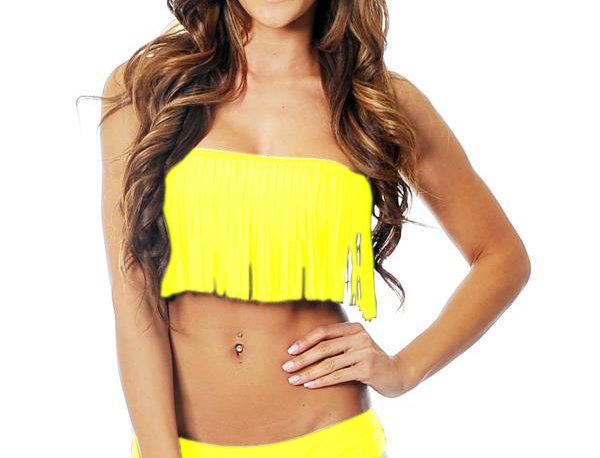 Fringe Tube Bikini Yellow