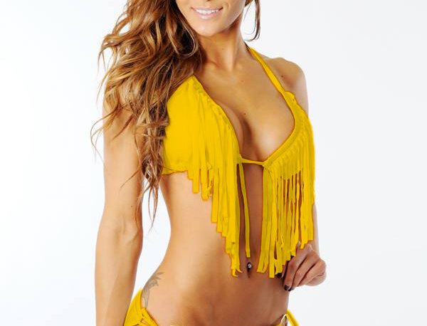 Fringe Triangle Bikini Bright Orange