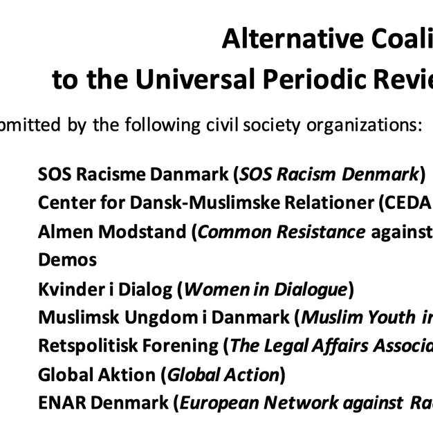 UPR Coalition Report by SOS Racisme Dk et al.