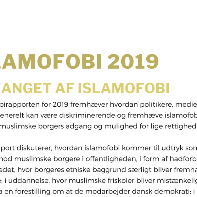 """""""One-pager"""" Islamofobi-rapport 2019"""