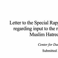 Letter to the UN Special Rapporteur