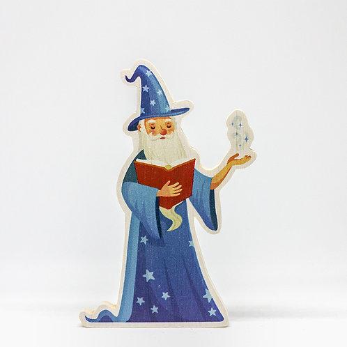 Malý čaroděj Modromír s knihou - dřevo