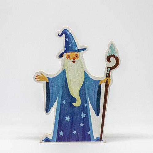 Malý čaroděj Modromír s holí - dřevo