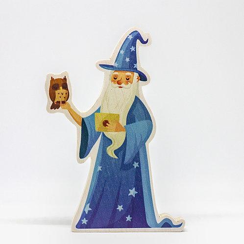 Malý čaroděj Modromír se sovou - dřevo