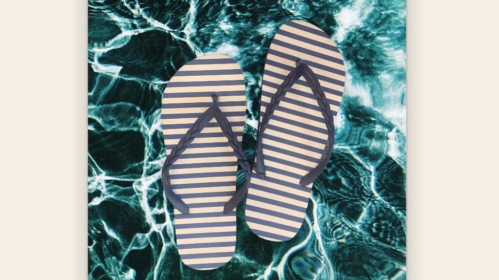 Ladies Striped Flip Flops