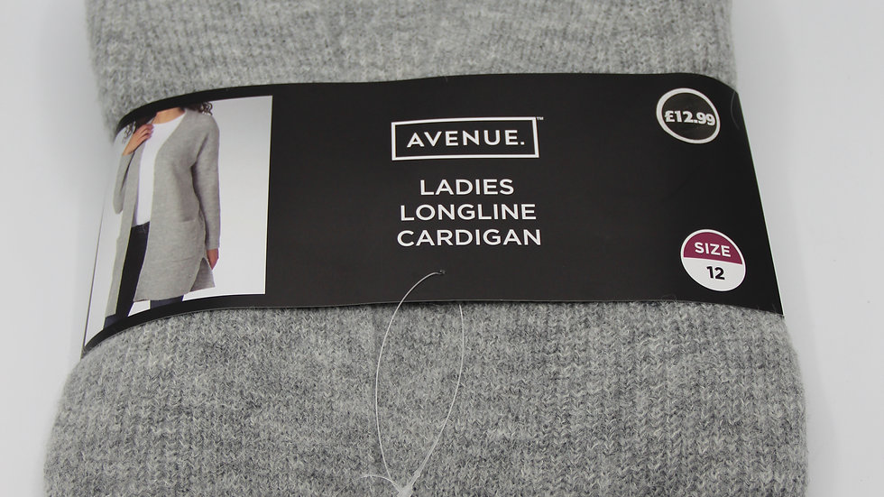 Ladies Grey Longline Cardigan