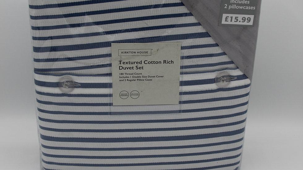 Textured Cotton Rich Duvet Set - Blue