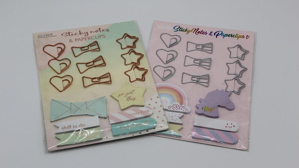 Sticky Notes & Paper Clips Set