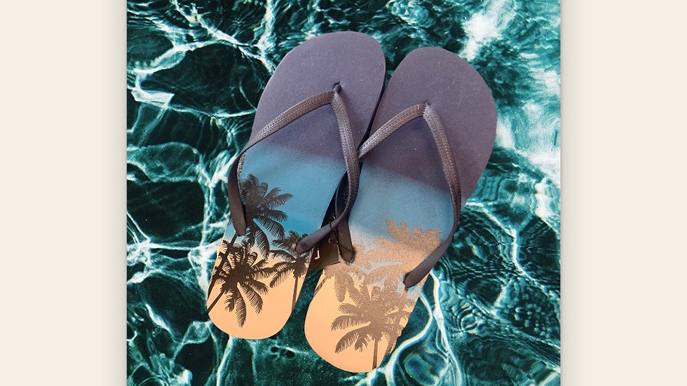 Men's Blue Tropical Flip Flops