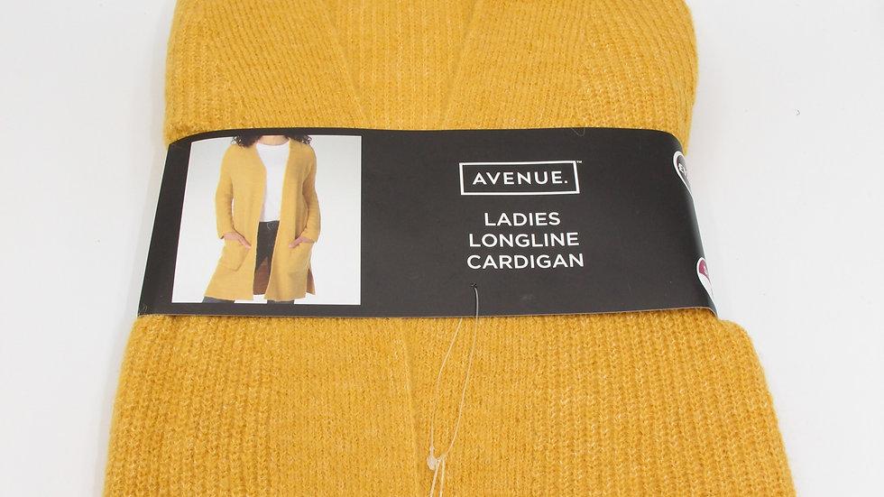 Ladies Mustard Longline Cardigan