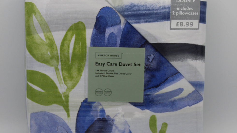 Blue & Green Floral Double Duvet Set