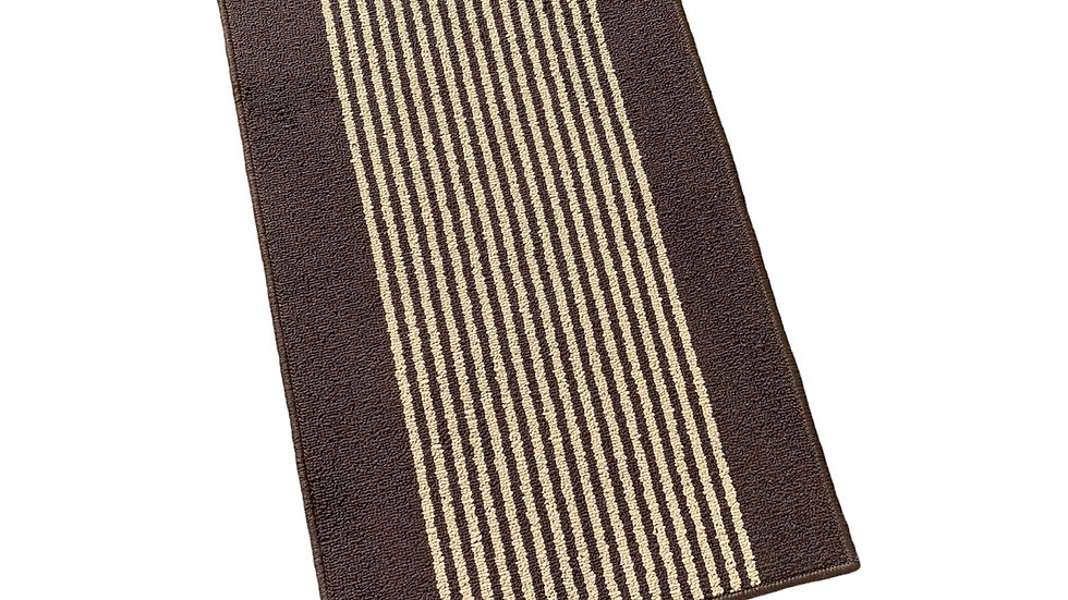 Brown Striped Washable Mat