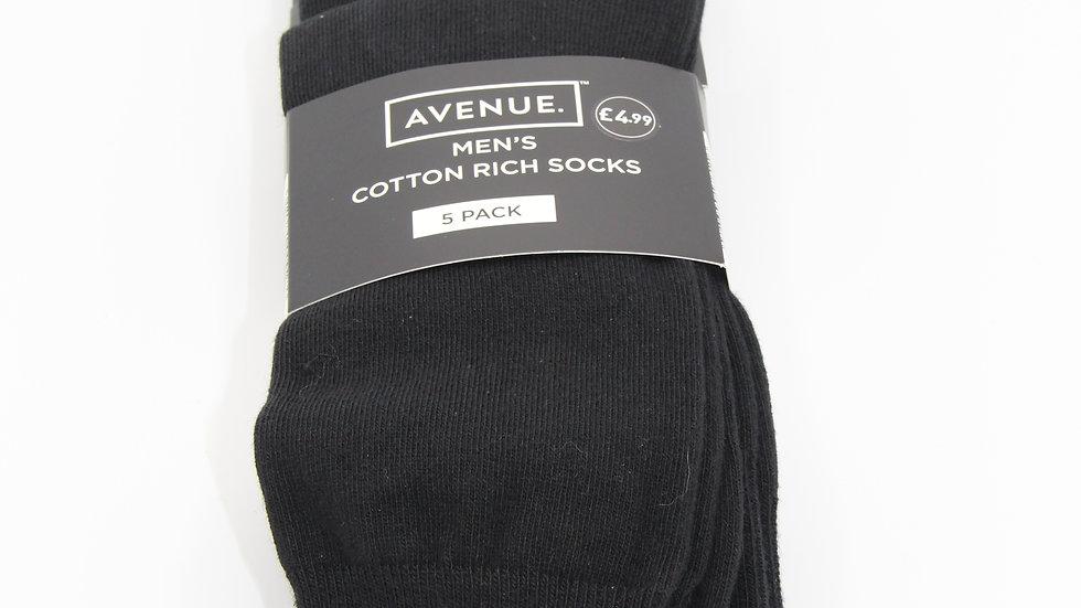Men's Cotton Rich Black Socks