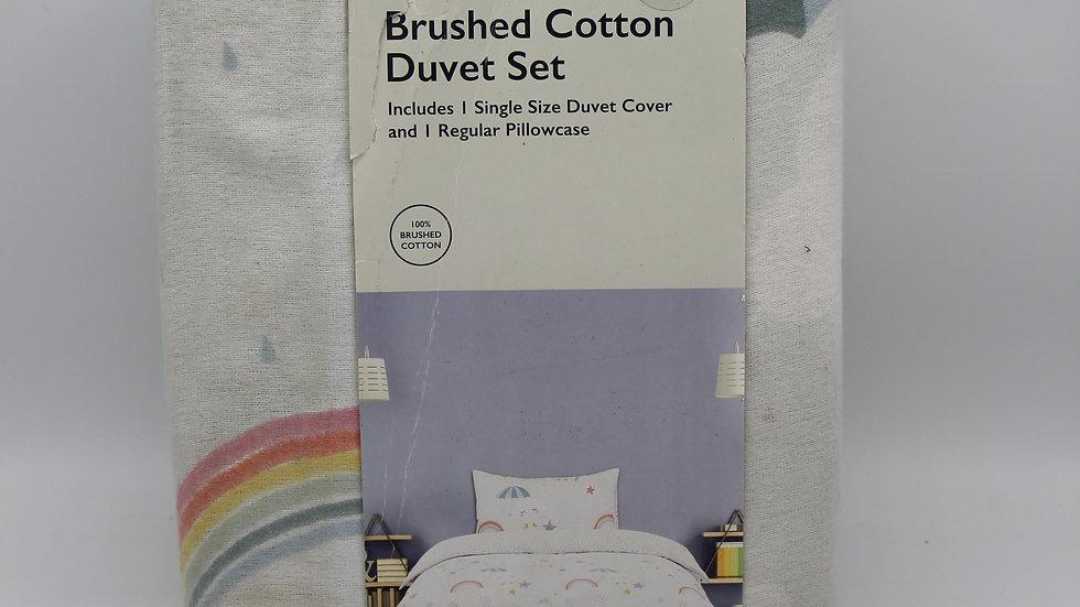 Brushed Cotton Single Bedding Duvet Set